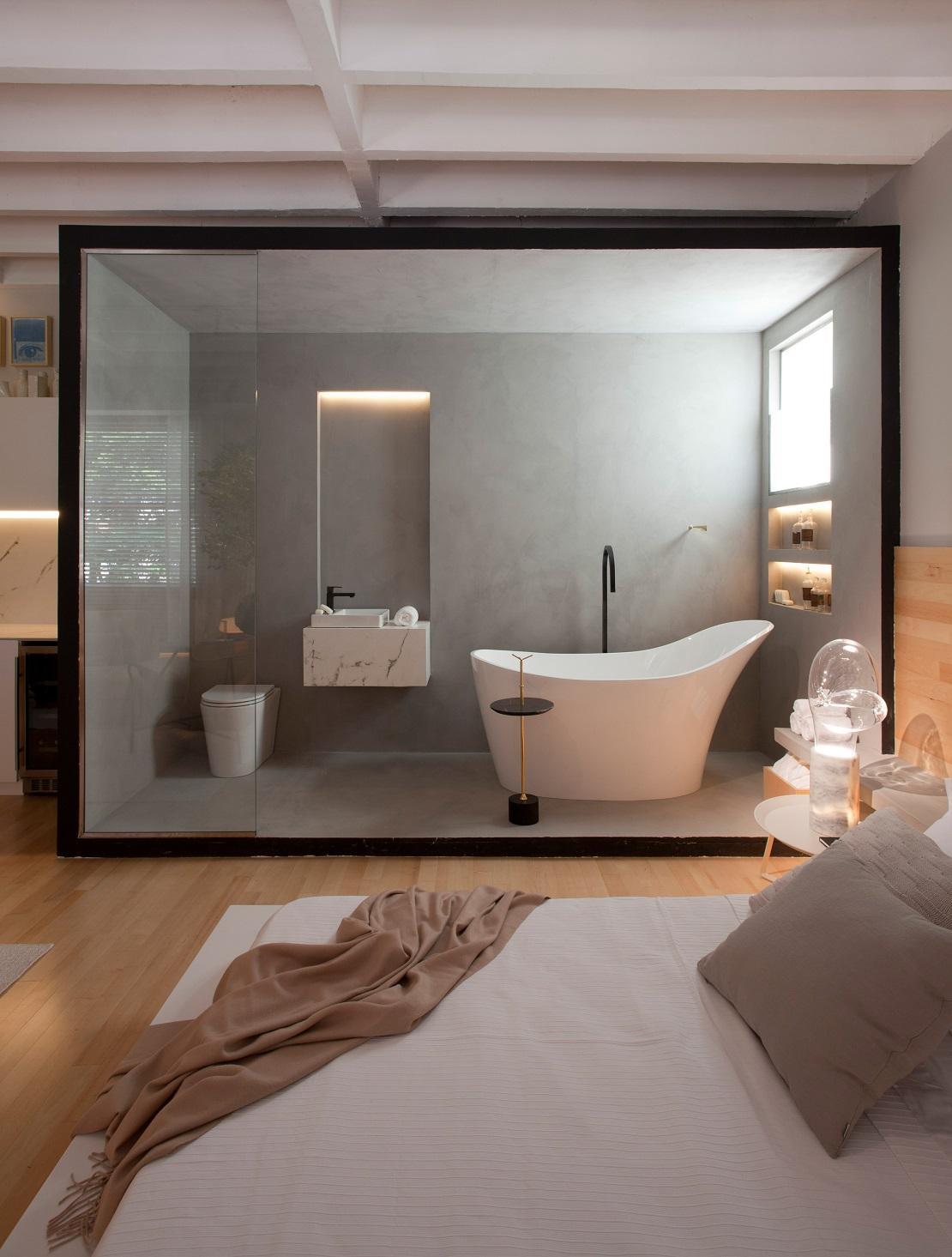 Une salle de bain en open space - Lomenech, plomberie ...